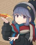 1girl :t arashishi bangs beanie black_jacket blue_hair blush brown_background cheese_trail closed_mouth commentary_request down_jacket eating eyebrows_visible_through_hair food fringe_trim grey_headwear hair_between_eyes hand_up hat highres holding holding_food jacket long_sleeves pizza pizza_slice puffy_long_sleeves puffy_sleeves red_eyes scarf shima_rin solo sparkle translated upper_body yurucamp