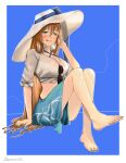 1girl artist_name bare_legs barefoot blue_background blush breasts darkpulsegg eyebrows_visible_through_hair eyewear_removed girls_frontline green_eyes hat highres long_hair looking_at_viewer m1903_springfield_(girls_frontline) nail_polish orange_hair sitting solo sun_hat swimwear tongue tongue_out white_headwear