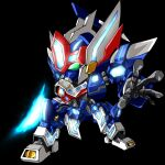 black_background chibi energy_sword green_eyes holding holding_sword holding_weapon mecha no_humans open_hand orpheus_(srw) science_fiction standing super_robot_wars super_robot_wars_ux sword weapon ya-1_(yaiyai123)