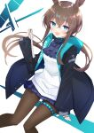 1girl :d amiya_(arknights) animal_ear_fluff animal_ears arknights bangs black_jacket blue_eyes blush breasts brown_hair brown_legwear commentary ecleil eyebrows_visible_through_hair feet_out_of_frame hair_between_eyes hand_up highres holding jacket jewelry knees_together_feet_apart long_hair long_sleeves looking_at_viewer open_clothes open_jacket open_mouth pantyhose pleated_skirt puffy_long_sleeves puffy_sleeves purple_neckwear purple_skirt rabbit_ears ring shirt skirt sleeves_past_wrists small_breasts smile solo very_long_hair white_shirt