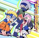 10birthday10 1girl 3boys black_hair blonde_hair fingerless_gloves forehead_protector gloves haruno_sakura hatake_kakashi headband konohagakure_symbol mask mouth_mask multiple_boys naruto naruto_(series) open_toe_shoes pink_hair silver_hair smile spiky_hair standing uchiha_sasuke uzumaki_naruto whisker_markings