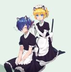 1boy 1girl aegis_(persona) alternate_costume android animal_ears apron bangs blonde_hair blue_eyes blue_hair byoru cat_ears cat_tail closed_eyes closed_mouth collared_shirt enmaided eyebrows_visible_through_hair fake_animal_ears fake_tail frilled_hairband frills grey_background hair_between_eyes hair_over_one_eye hair_ribbon hairband highres maid maid_apron maid_headdress parted_lips persona persona_3 ribbon shiny shiny_hair shirt short_hair short_sleeves sidelocks sitting skirt sleeping sleeping_upright tail thigh-highs translation_request waist_apron yuuki_makoto