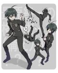 1boy :d ahoge bangs black_hair black_jacket black_pants border breast_pocket brown_hair character_sheet commentary_request danganronpa_(series) danganronpa_v3:_killing_harmony double-breasted falling fighting_stance from_above full_body gakuran grey_background hair_between_eyes hand_up highres jacket kicking leg_up long_sleeves lying male_focus multiple_views on_back open_mouth pants pinstripe_pattern pocket profile saihara_shuuichi school_uniform short_hair smile standing striped striped_pants takagiri translation_request vertical_stripes white_border