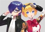 1boy 1girl aegis_(persona) android bangs black_headwear blazer blonde_hair blue_eyes blue_hair bow byoru closed_mouth collared_shirt glasses grey_background hair_between_eyes hair_over_one_eye hand_on_eyewear highres jacket joints long_sleeves looking_at_viewer open_mouth persona persona_3 red_neckwear robot_joints salute shiny shiny_hair shirt short_hair sidelocks simple_background straight-arm_salute white_shirt yuuki_makoto