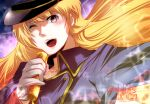 1girl blonde_hair blue_eyes blush dated floating_hair gloves hat holding holding_microphone hoshino_(pixiv12796893) long_hair looking_up macross macross_frontier microphone music one_eye_closed sheryl_nome signature singing solo upper_body white_gloves