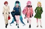 2pineapplepizza 4girls aqua_hair bag bangs black_footwear black_gloves blonde_hair blue_eyes blush brown_hair closed_mouth coat dress eyebrows_visible_through_hair gloves green_coat grey_background hair_between_eyes handbag hands_in_pockets hat hatsune_miku highres holding hood hood_down hoodie jacket kagamine_rin long_hair megurine_luka meiko multiple_girls open_mouth pants pink_coat pink_hair plaid plaid_dress plaid_headwear short_hair shoulder_bag simple_background smile socks standing twintails vocaloid