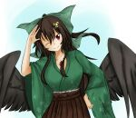 1girl abyss_arts alternate_costume bird_wings black_wings blue_background bow brown_hair brown_skirt cowboy_shot floral_print green_bow green_kimono hair_bow hair_ornament hairclip hand_on_hip highres japanese_clothes kimono long_hair looking_at_viewer one_eye_closed ponytail radiation_symbol red_eyes reiuji_utsuho ribbon salute simple_background skirt smile solo third_eye touhou white_background wings