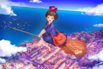 1girl absurdres alexi_ansell bag bangs bird black_dress black_hair broom broom_riding brown_bag clouds dated dress hairband highres kiki looking_at_viewer majo_no_takkyuubin open_mouth red_footwear red_hairband shoes short_hair short_sleeves shoulder_bag signature smile solo water wide_shot