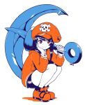 1girl absurdres anchor artist_name bangs bike_shorts black_shorts cabbie_hat dako_(dakosito) full_body guilty_gear guilty_gear_strive hat highres jacket long_hair may_(guilty_gear) orange_footwear orange_headwear orange_jacket pirate_hat shorts skull_and_crossbones smile solo squatting white_background