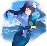 1girl blue_hair blue_sky bodysuit breasts character_name commentary cowboy_shot dated day english_commentary happy_birthday large_breasts long_hair looking_at_viewer love_live! love_live!_sunshine!! matsuura_kanan outdoors ponytail sky smile solo stuffed_animal stuffed_dolphin stuffed_toy terupancake twitter_username water