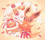 blush bow brown_eyes cake commentary_request flareon flower food gen_1_pokemon heart jippe no_humans open_mouth paws poke_puff pokemon pokemon_(creature) solo striped striped_bow toes tongue