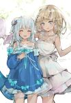 2girls :d ^_^ bangs bare_arms bare_shoulders blue_bow blue_dress blue_eyes blue_hair blue_sleeves bouquet bow breasts closed_eyes commentary dated dema_hmw detached_sleeves dress eyebrows_visible_through_hair fish_tail flower gawr_gura glowing hair_ornament highres holding holding_bouquet holding_flower hololive hololive_english light_brown_hair long_sleeves medium_breasts multicolored_hair multiple_girls open_mouth puffy_long_sleeves puffy_sleeves rose shark_tail sharp_teeth signature single_strap sleeveless sleeveless_dress sleeves_past_wrists smile standing streaked_hair tail teeth two_side_up virtual_youtuber watson_amelia white_dress white_flower white_hair white_rose