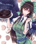 1girl apron bird_wings black_wings blouse bow breasts brown_eyes brown_hair buttons cake chocolate_cake collared_blouse eyebrows_visible_through_hair food green_apron green_bow hair_bow heart holding holding_cake holding_food holding_spoon large_breasts licking_lips long_hair looking_at_viewer niradama_(nira2ratama) plate puffy_short_sleeves puffy_sleeves reiuji_utsuho short_sleeves solo spoon tongue tongue_out touhou very_long_hair white_blouse wings wooden_spoon