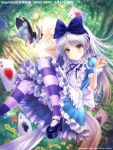 1girl ace_of_clubs ace_of_diamonds ace_of_hearts ace_of_spades alice_(wonderland) alice_(wonderland)_(cosplay) alice_in_wonderland angel_beats! apron black_footwear blue_dress bow card club_(shape) commentary_request cosplay diamond_(shape) dress forest frilled_apron frilled_dress frills full_body goto_p hair_bow heart long_hair looking_at_viewer mary_janes nature pantyhose playing_card rabbit shoes silver_hair spade_(shape) striped striped_legwear tenshi_(angel_beats!) white_apron white_rabbit wrist_cuffs yellow_eyes