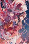1girl :o absurdres armpit_peek breasts brown_hair bun_cover character_doll china_dress chinese_clothes double_bun dragon dress eastern_dragon falling_petals fireworks foot_out_of_frame highres long_hair looking_at_viewer love_live! maccha_(mochancc) night night_sky nishikino_maki outdoors petals petticoat red_dress red_eyes red_ribbon ribbon sky small_breasts solo tagme tassel thigh-highs yazawa_nico