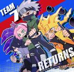 10birthday10 1girl 3boys aura black_hair blonde_hair coat cracking_knuckles facial_mark fingerless_gloves forehead_mark forehead_protector gloves glowing glowing_hair green_eyes haruno_sakura hatake_kakashi headband multiple_boys naruto_(series) naruto_shippuuden open_mouth open_toe_shoes pink_hair red_eyes rinnegan scar sharingan silver_hair smile staff standing uchiha_sasuke uzumaki_naruto violet_eyes yellow_eyes