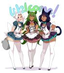 3boys :d absurdres animal_ears aoi_(lightsource) apron black_footwear blue_dress blush bright_pupils cat_boy cat_ears cat_tail character_request crossdressinging cup dress drinking_straw english_commentary english_text fang full_body green_hair hair_ornament highres holding holding_tray lightsource long_hair looking_at_viewer maid maid_apron maid_headdress male_focus multiple_boys murasaki_(lightsource) open_mouth orange_eyes original otoko_no_ko pink_eyes rabbit_ears red_dress red_eyes simple_background slit_pupils smile standing tail thigh-highs tray white_apron white_background white_hair white_legwear white_pupils