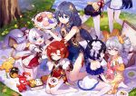 6+girls :d :t ^_^ ahoge black_gloves black_hair blue_dress blue_eyes character_request child china_dress chinese_clothes chinese_commentary closed_eyes commentary_request day dress drill_hair eating eyebrows_visible_through_hair flat_chest flower food fork fruit gloves grass grey_eyes hair_rings highres honkai_(series) honkai_impact_3rd huge_filesize kneeling long_hair looking_at_another multiple_girls no_shoes obentou open_mouth orange outdoors pantyhose picnic picnic_basket plate redhead short_hair side_slit silver_hair sitting sleeveless sleeveless_dress smile strapless strapless_dress tree tsubasa_tsubasa twin_drills twintails white_dress white_legwear