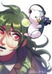 1boy :d alternate_size artist_name baru_(bar_0405) blurry blurry_foreground brown_jacket camera collared_shirt commentary_request danganronpa_(series) danganronpa_v3:_killing_harmony depth_of_field gokuhara_gonta green_hair hair_between_eyes headphones highres holding holding_camera jacket lens_flare long_hair looking_at_viewer looking_up male_focus monokid motion_blur open_mouth red_eyes round_eyewear shirt simple_background smile solo_focus upper_teeth white_background wings