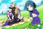 1boy 2girls artist_name blue_hair blue_sky byleth_(fire_emblem) byleth_(fire_emblem)_(male) closed_mouth clouds dannex009 day dress father_and_daughter fire_emblem fire_emblem:_three_houses flower grass green_eyes green_hair hair_ornament hat highres if_they_mated long_hair long_sleeves lysithea_von_ordelia mother_and_daughter multiple_girls open_mouth outdoors pink_eyes short_hair sitting sky tiara watermark web_address white_hair