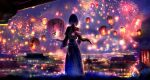 1girl architecture backlighting chinese_clothes chinese_commentary chinese_new_year city_lights cityscape dark dress east_asian_architecture fireworks grass highres horizon lantern long_hair low_ponytail new_year original paper_lantern scenery seiya_hoshiko solo