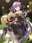 1girl absurdres black_dress braid commission commissioner_upload dress feathers fire_emblem fire_emblem:_the_binding_blade fire_emblem_heroes french_braid full_body guitar highres huge_filesize instrument long_dress long_hair long_sleeves music nature purple_hair renka_(renkas) sitting skeb_commission smile sophia_(fire_emblem) tree_stump very_long_hair violet_eyes white_dress