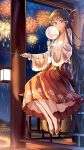 1girl absurdly_long_hair absurdres alternate_hair_length alternate_hairstyle bangs bow brown_eyes brown_hair chinese_clothes chinese_new_year closed_mouth commentary_request eyebrows_visible_through_hair fireworks full_body hair_bow hair_tubes hakurei_reimu hanfu highres holding holding_stick jiege lantern light_blush long_hair looking_at_viewer night night_sky no_socks pillar pink_robe pleated_skirt red_footwear sidelocks sitting skirt sky smile solo stick touhou very_long_hair