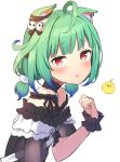 1girl ahoge animal_ear_fluff animal_ears bangs bare_shoulders black_choker black_dress blunt_bangs blush cat_ears choker commentary_request dress eyebrows_visible_through_hair flat_chest frills from_side green_hair hair_ornament hand_up highres hololive looking_at_viewer low_twintails medium_hair parted_lips red_eyes short_hair simple_background skull_hair_ornament solo tearing_up twintails upper_body uruha_rushia virtual_youtuber white_background wrist_cuffs yudetama