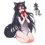 1girl ahoge animal_ears bangs bare_arms black_dress black_hair blush china_dress chinese_clothes commentary_request covered_navel dress ejami ekko_(ejami) fox_ears fox_girl fox_tail gradient_dress grey_dress hair_ornament hands_up highres holding long_hair looking_at_viewer new_year original red_eyes seiza short_sleeves simple_background sitting solo tail translation_request white_background