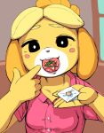 1girl :d animal_crossing animal_ears black_eyes blonde_hair blush blush_stickers body_fur breasts buttons collarbone collared_shirt commentary_request dog_ears dog_girl furry highres holding iizuna_(milky_walker) index_finger_raised isabelle_(animal_crossing) looking_at_viewer napkin open_mouth partially_unbuttoned pink_shirt raised_eyebrows shirt short_sleeves sketch smile solo tongue upper_body upper_teeth window yellow_fur