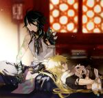 1girl 2boys aether_(genshin_impact) ahoge arm_guards arm_tattoo bangs bare_shoulders bead_necklace beads black_gloves black_hair blonde_hair blurry blurry_background closed_eyes closed_mouth detached_sleeves dress eyebrows_visible_through_hair facial_mark forehead_mark genshin_impact gloves green_gloves green_hair hair_ornament halo holding holding_another's_hair hug jewelry lap_pillow long_hair long_sleeves looking_to_the_side maka_(morphine) male_focus multicolored_hair multiple_boys necklace open_mouth paimon_(genshin_impact) scarf shoulder_pads shoulder_spikes sitting sleeping sleeveless spikes tassel tattoo white_dress white_hair xiao_(genshin_impact) yellow_eyes