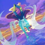 clouds commentary_request designer_ojisan gen_2_pokemon legendary_pokemon looking_at_viewer no_humans outdoors paws pokemon pokemon_(creature) red_eyes ripples sky solo suicune toes twilight