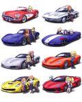 absurdres atlanta_(kancolle) car casual chevrolet_corvette colorado_(kancolle) fletcher_(kancolle) gambier_bay_(kancolle) glasses ground_vehicle helena_(kancolle) highres hood hoodie hornet_(kancolle) houston_(kancolle) intrepid_(kancolle) iowa_(kancolle) johnston_(kancolle) kantai_collection leaning_against_vehicle map motor_vehicle ponytail saratoga_(kancolle) shunaberu south_dakota_(azur_lane) star-shaped_pupils star_(symbol) suitcase symbol-shaped_pupils tagme washington_(kancolle)