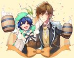 2boys alcohol bangs beer beer_mug black_gloves black_hair blue_hair blush bow braid brown_hair cape closed_mouth collarbone collared_shirt confetti cup earrings flower foam formal gem genshin_impact gloves gradient_hair green_eyes green_headwear hair_between_eyes hand_on_hip hat hat_flower highres jacket jewelry long_hair long_sleeves looking_at_viewer male_focus mug multicolored_hair multiple_boys necktie noah one_eye_closed open_mouth ribbon shirt simple_background single_earring smile tassel tassel_earrings twin_braids venti_(genshin_impact) white_flower yellow_eyes zhongli_(genshin_impact)