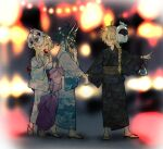 1girl 2boys aether_(genshin_impact) ahoge aqua_kimono bangs blonde_hair blurry blurry_background braid brown_kimono candy_apple dress eating eyebrows_visible_through_hair fish food full_body genshin_impact hair_between_eyes holding holding_another's_arm holding_mask japanese_clothes kimono long_hair long_sleeves lumine_(genshin_impact) maka_(morphine) mask mask_on_head multiple_boys open_mouth paimon_(genshin_impact) sandals sash smile tagme venti_(genshin_impact) wide_sleeves yellow_eyes