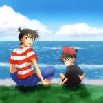 2boys :d annoyed arm_support bangs belt black_dress blue_eyes blue_pants blue_sky bow bow_hairband brown_hair child closed_mouth clouds cloudy_sky commentary cosplay crossdressing dande-reo day dress dual_persona edogawa_conan frown grass hair_bow hairband happy kiki kiki_(cosplay) kudou_shin'ichi looking_at_viewer looking_back majo_no_takkyuubin male_focus meitantei_conan multiple_boys no_eyewear ocean open_mouth pants red_bow red_hairband shadow shirt short_hair short_sleeves sitting sky smile striped striped_shirt tombo tombo_(cosplay) v-shaped_eyebrows water