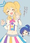 >o< :d ^_^ ^o^ aikatsu! aikatsu!_(series) aikatsu_friends! bare_shoulders blonde_hair blue_background blue_hair blue_scrunchie chibi chibi_inset closed_eyes cosplay crop_top detached_sleeves eyebrows_visible_through_hair hair_ornament hair_over_shoulder hair_scrunchie hair_up headphones hoshimiya_ichigo idol kiriya_aoi koko_(aikatsu_friends!) koko_(aikatsu_friends!)_(cosplay) kurotea microphone midriff morohoshi_sumire multicolored multicolored_clothes multicolored_skirt navel neckerchief open_mouth round_teeth scrunchie seiyuu_connection side_ponytail simple_background skirt sleeves_past_wrists smile star_(symbol) stomach teeth upper_body upper_teeth waving