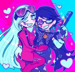 2girls alternate_costume aqua_background aqua_outline artist_name ass ass_grab bayonetta bayonetta_(character) black_hair blue_eyes blush_stickers bodysuit boots commentary couple earrings elbow_gloves english_commentary eyebrows_visible_through_hair eyeshadow eyewear_on_head glasses gloves gun handgun heart holding holding_gun holding_weapon jeanne_(bayonetta) jewelry kcdoos lipstick_mark long_hair looking_at_viewer makeup mole multicolored multicolored_background multiple_girls one_eye_closed open_mouth pistol purple_background purple_lips red_lips short_hair smile sparkle sunglasses symbol_commentary thigh-highs thigh_boots translucent_hair twitter_username very_long_hair watermark weapon white_gloves yuri