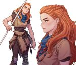 1girl aloy_(horizon) blue_scarf braid clenched_hand commentary_request earpiece fingernails forehead freckles green_eyes holding holding_spear holding_weapon horizon_zero_dawn jewelry jyolin_manula korean_commentary lips long_hair mismatched_eyebrows multiple_braids multiple_views neckerchief necklace nose pearl_necklace polearm pouch scar scar_through_eyebrow scarf spear thick_eyebrows tribal weapon white_background