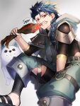 1boy 1other animal asymmetrical_bangs bangs belt blue_hair bodysuit_under_clothes braid braided_ponytail capelet child closed_mouth clothing_cutout cu_chulainn_(fate)_(all) dog earrings eating fangs fate/grand_order fate/grand_order_arcade fate_(series) fgo_moyashi food holding holding_food hood hood_down hooded_capelet jewelry leg_warmers long_hair looking_at_viewer male_focus meat pants ponytail popped_collar puffy_pants puppy red_eyes sandals setanta_(fate) signature simple_background spiky_hair thigh_cutout