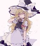 1girl apron black_headwear black_skirt black_vest blonde_hair blood blood_on_face bow braid commentary_request cowboy_shot cuts hair_bow hand_up hat hat_bow holding injury kirisame_marisa long_hair looking_at_viewer mini-hakkero mozukuzu_(manukedori) one_eye_closed red_bow shirt short_sleeves single_braid skirt solo star_(symbol) torn_bow torn_clothes torn_hat torn_vest touhou vest white_bow white_shirt witch_hat wrist_cuffs yellow_eyes