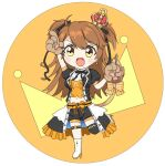 1girl animal_ears artist_request chibi crown earrings hair_through_headwear jewelry leo lion_tail orange_shorts paw_print_pattern re:act ribbon shishigami_leona shorts star_(symbol) star_earrings tail tail_ornament tail_ribbon two_side_up virtual_youtuber