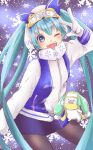 1girl 1other aqua_eyes aqua_hair blue_skirt button_eyes coat commentary contrapposto cowboy_shot gloves hand_up hatsune_miku highres izumi_(izu345) long_hair looking_at_viewer miniskirt open_mouth owl_ears pantyhose rabbit_yukine ski_gear ski_goggles skirt smile snowflake_print snowflakes snowing twintails very_long_hair vocaloid w white_coat white_gloves yuki_miku yuki_miku_(2016)