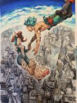 1boy 1girl aqua_hair barefoot belt belt_pouch black_jumpsuit blush_stickers bodysuit boku_no_hero_academia boots brown_hair building city closed_eyes clouds commentary_request crying damaged dirty falling freckles green_jumpsuit highres holding_hands horikoshi_kouhei looking_at_another midoriya_izuku midriff_peek official_art open_mouth pink_footwear pink_jumpsuit pouch raised_eyebrows reaching_out red_belt shirtless shoes short_hair single_shoe sky skyscraper smile tears torn_bodysuit torn_clothes torn_jumpsuit upper_teeth uraraka_ochako wind