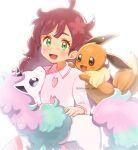 1girl :d artist_name bangs blurry blush chitozen_(pri_zen) chloe_(pokemon) commentary_request eevee eyelashes galarian_form galarian_ponyta gen_1_pokemon gen_8_pokemon green_eyes highres long_hair long_sleeves open_mouth pokemon pokemon_(anime) pokemon_(creature) pokemon_swsh_(anime) redhead smile tongue watermark