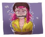 bangs beanie black_headwear border bound crying crying_with_eyes_open danganronpa_(series) danganronpa_2:_goodbye_despair gag gagged grey_shirt hat highres hood jumpsuit looking_at_viewer medium_hair outline pink_eyes pink_hair purple_background rope_gag saliva shirt solo souda_kazuichi tears tied_up translation_request trembling upper_body uzicha white_border white_outline yellow_jumpsuit