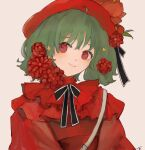 1girl alternate_costume bangs beret black_bow blush bow eyebrows_visible_through_hair flower green_hair hat highres light_smile looking_to_the_side macross macross_frontier osatsu_a ranka_lee red_eyes red_flower red_headwear short_hair smile solo symbol_commentary