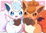 alolan_form alolan_vulpix blue_eyes blush border brown_eyes fang gen_1_pokemon gen_7_pokemon heart holding kemoribon looking_at_viewer no_humans open_mouth outside_border pokemon pokemon_(creature) symbol_commentary tongue vulpix white_border wings