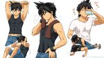 1boy abs armpits artist_name bangs black_hair black_shirt brown_eyes brown_towel closed_eyes closed_mouth commentary_request cup dated drinking exercise hand_on_hip highres kibisakura2 male_focus multiple_views parted_lips pokemon pokemon_adventures red_(pokemon) shirt short_sleeves shorts sideways_glance sleeveless sleeveless_shirt stretch sweat towel towel_around_neck white_shirt