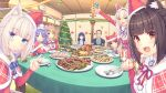 animal_ears azuki_(nekopara) bell cat cat_ears cat_tail chocola_(nekopara) christmas christmas_ornaments cinnamon_(nekopara) coconut_(nekopara) dinner feast highres maple_(nekopara) nekopara sayori_(neko_works) tail vanilla_(nekopara)